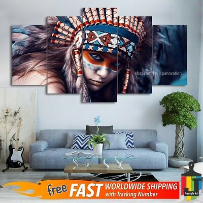 5 Pieces Home Decor Canvas Print Painting Wall Art American India Lady Poster