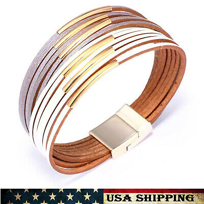 Jewelry White&Silver Multi-layer Leather Bangle Wrap Cuff Bracelets For Women