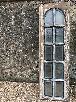 Antique reclaimed oak stained glass French church window