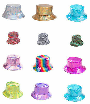 14f5ff7814c Shiny Gold Silver Multi Bucket Sun Hat Holographic Party Festival Hats