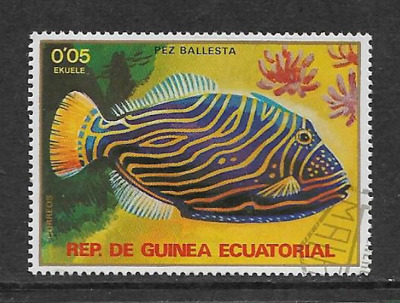 Equatorial Guinea - Used Stamp - 1979 Fish Series 11 Orange-Lined Triggerfish