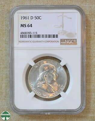 1961-D Franklin Half Dollar - Ngc Certified - Ms64