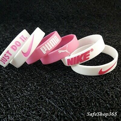 3x Girls Silicone Wristband Nike/Puma bracelet pink rubber wrist band Party gift