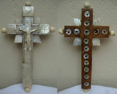 ANTIQUE VINTAGE HANDWORK WOODEN WITH MOTHER OF PEARL CRUCIFIX CROSS 18th CENTURY