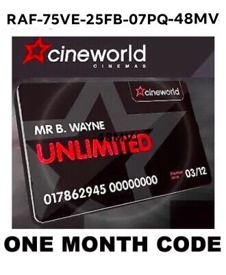 Unlimited Cineworld 1 Month Free Code