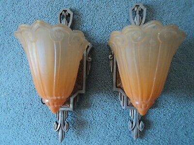 Pair Antique Lincoln Slip Shade Wall Sconce Art Deco #1