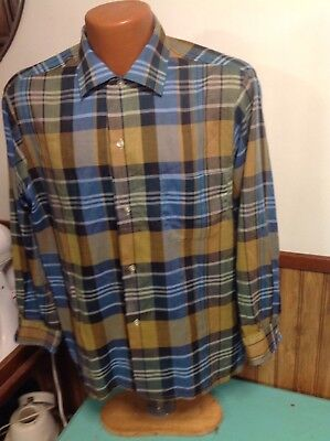 vintage 60's 1960's long sleeve shirt blue brown plaid camp thin poly cotton med