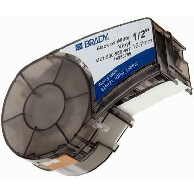 BRADY M21-500-461 Label Cartridge,Blck//Wht,1//2 In W