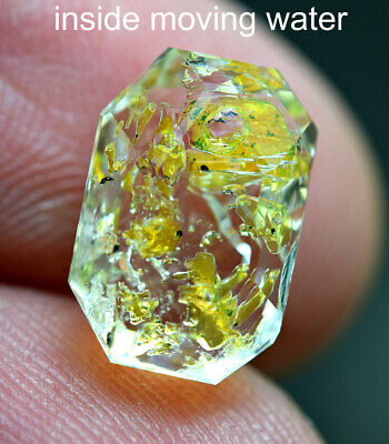 5.15Ct Fluorescent PETROLEUM Diamond Quartz inside water moving cut Gemstone@Pak