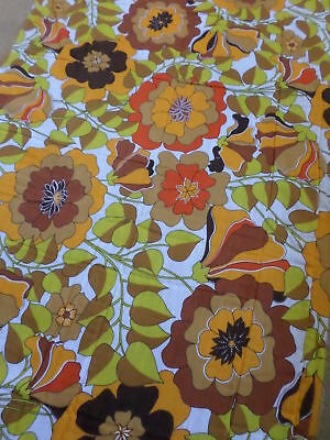Retro Vintage Orange Yellow Red And Brown Floral Light Synthetic Fabric...