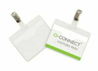 Q-CONNECT Pack of 25 Visitor Badges (60x90mm) Clip On Presentation Name ID