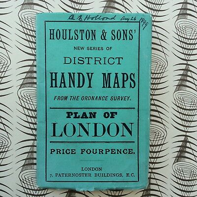 London c.1899 folding Houlston Handy Map Plan of London Omnibus & Tramway Routes