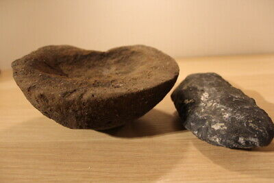 Stone Age Ancient Neolithic Anthromorphic Bowl crusher and stone axe head