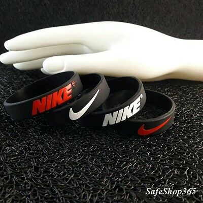 2pcs Silicone Nike bracelet rubber wristbands black baller bands Boys/kids black