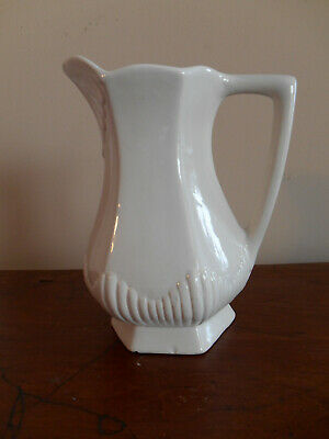 """White Ironstone Pitcher Decorative Vtg Antique Numbered Italy 8"""""""