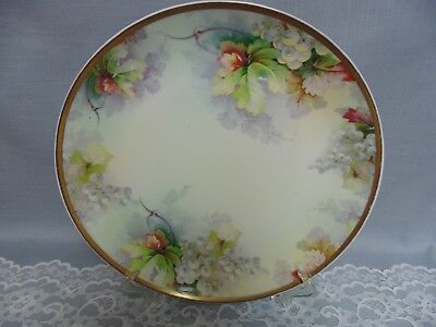 """Antique Imperial Austria PSL 12"""" Charger Service Plate Hand Enameled Grapes."""