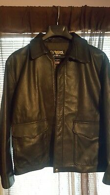 ae9d62d1d52 US Wings Goatskin Leather Jacket Bomber Indiana Jones Made In USA Size Large