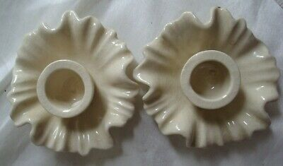 Vintage Pair ceramic Tulip Taper Candle Holders White Made in Japan