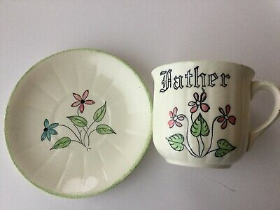 Blue Ridge Pottery - BIG CUP & Saucer (SPIDER VIOLETS) with Father