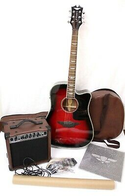 Keith Urban Deluxe Player Acoustic Electric Guitar Package Red Black No Stand 199 99 Picclick