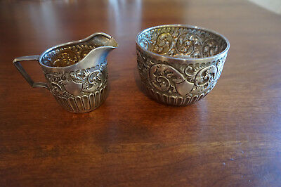 Victorian London Sterling Silver Creamer & Sugar 1892 Charles Edwards