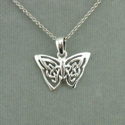 Celtic Butterfly Pendant Necklace 925 Sterling Silver New