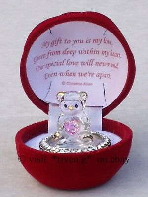 Valentines Day Crystal Teddy Bear Pink Heart With Poem Gift Box Unique Present