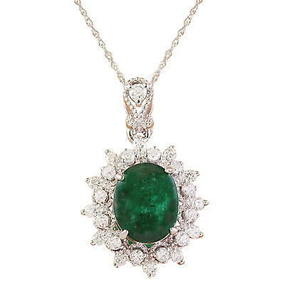 3.14 Carat Natural Emerald 18K Solid White Gold Luxury Diamond Necklace