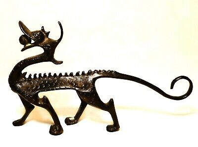 Mid-Late 19Th C Antique Dark Bronze Chinese Dragon, W/fire Ball/long Curled Tail