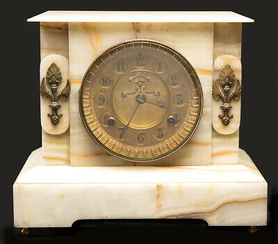 Early 1900's  Antique  Waterbury  Heavy Marble Mantle Clock Running   NO~RESERVE