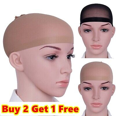 New 2 PCS Wig Cap Hair Black Nude Unisex Breathable Stretch Stocking Nylon Liner