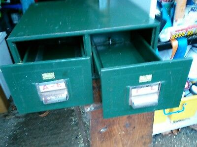 *Reduced* 2 Drawer Card Index Green industrial chic VINTAGE LOFT LIVING STYLE