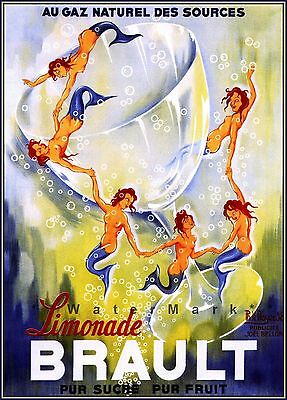 Brault Limonade 1938 Mermaids Dancing French Vintage Poster Print Retro Art