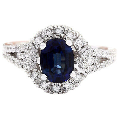 2.59 Carat Natural Sapphire 18K Solid White Gold Luxury Diamond Ring