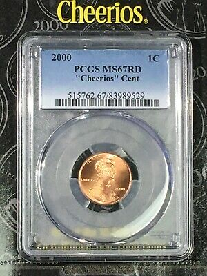 "2000 1C PCGS MS67RD ""Cheerios"" Lincoln Cent -RicksCafeAmerican.com"