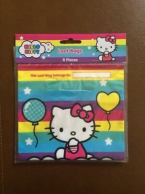 NEW 8 HELLO KITTY LOOT BAGS Favor TREAT SACKS Birthday Supplies Decorations 66ee75c3846e9