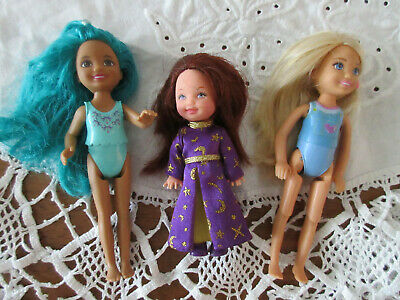 LOT 3 BARBIE LITTLE SISTER FRIENDS 2 CHELSEA  one jointed & 1 KELLY Dressed DOLL