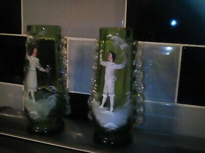 Mary gregory vases green with hand painted boy&girl.