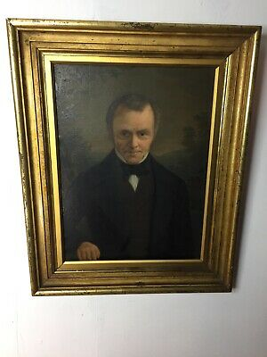 19th Century Oil Portrait Painting of Gentleman, Mounted in Tiered Gilt  Framed