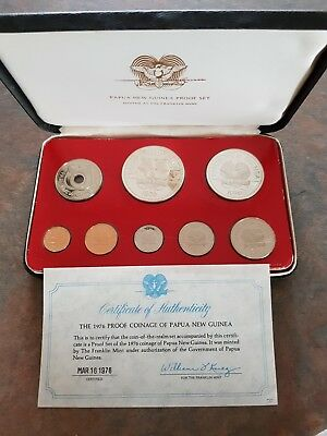1976 Papua New Guinea Coin Proof Set. Franklin mint. 8 coins
