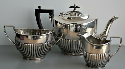 Vintage Elegant Silver Plate 3 Piece TEA set-tea pot, sugar bowl, milk jug