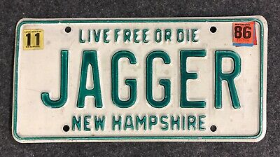 1986 New Hampshire Vanity License Plate JAGGER NH 86 Mick Rolling Stones Moves