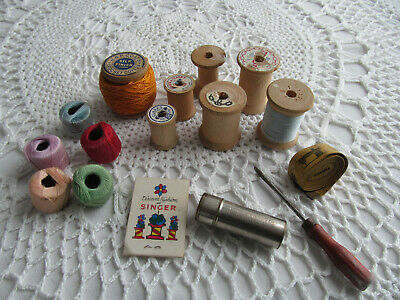 LOT Sewing Notions - Vintage Wooden Spools Thread Tape Measure Tin of Thread