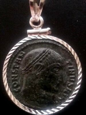 Constantine Great Wreath Authentic Ancient Roman Coin Sterling Pendant Necklace