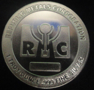 RMC Republic Metals Corp. 1 Troy Oz. .999 Fine Silver Round