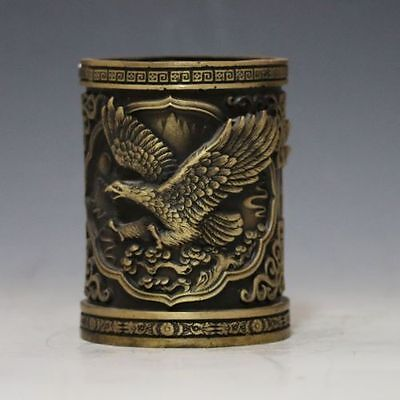 Chinese Brass Hand-Carved Eagle Brush Pot