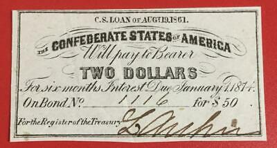 1861 $2 US Confederate States of America! Choice VF! Old US! Genuine!