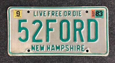 1983 New Hampshire Vanity License Plate 52FORD NH 83 Ford Sunliner Victoria F100