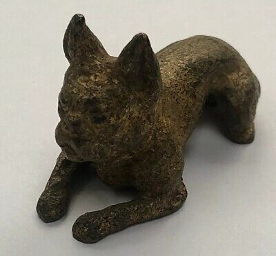 Tiffany And Studio Vtg Antique French Bulldog Bronze W/ Gild Finish Paperweight