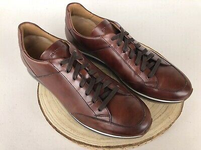 NEW! $325 MSRP - Magnanni 'Chaz' Sneakers Brown Tobacco Leather Men's Shoes-10M